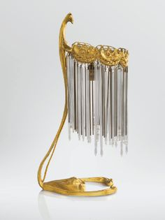 A GILT BRONZE, GLASS AND METAL TABLE LAMP BY HECTOR GUIMARD, CIRCA 1900-1910