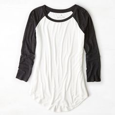 American Eagle Soft & Sexy Colorblocked Baseball T-Shirt, Women's,... ($20) ❤ liked on Polyvore featuring tops, t-shirts, shirts, long sleeves, white, long sleeve baseball shirt, white shirt, sexy white shirt, long sleeve tee and baseball tee shirt