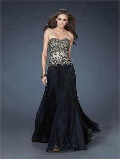 A-line Strapless Sweetheart Appliqued Perfect Chiffon Prom Dress PD11342 www.dresseshouse.co.uk $139.0000