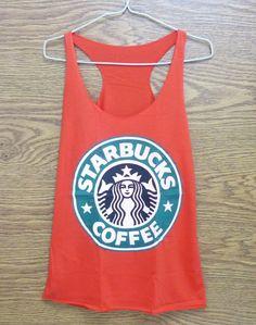 Tank top size XS red Starbucks tank top Teen girls by StoneTshirts, $12.50