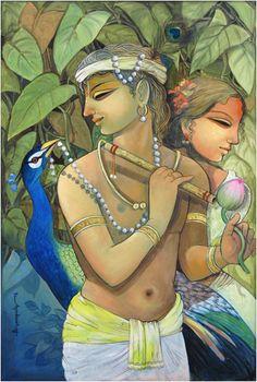 Artodyssey: Ashoke Ganguly #Krishna #Krsna #Radha #Radhe #hindu #art