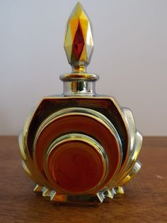 ART DECO vintage carnival glass RARE czech perfume bottle