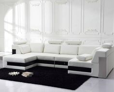 Leather Sectional Sofa with Drawers