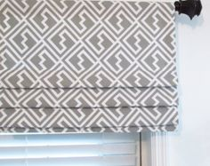lined faux roman shade grey natural geometric trellis mock roman valance custom sizing. Black Bedroom Furniture Sets. Home Design Ideas