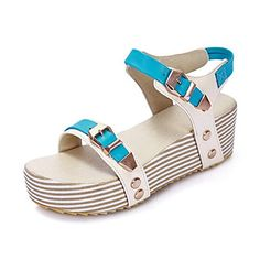 MayMeenth Womens Assorted Color PU KittenHeels Open Toe Buckle FlatsSandals Blue 37 >>> You can get more details by clicking on the image.(This is an Amazon affiliate link and I receive a commission for the sales)