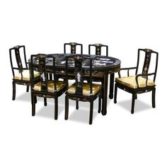 "64in Oval Dining Table with 8 Chairs - Black Lacquer Pearl Design by ChinaFurnitureOnline. $1990.00. Hand-inlaid mother of pearl maiden figures with hand-painted gold trim. Hand-applied black lacquer finish. Dimensions: 64""W x 44""D x 31""H. 4 side chairs, 2 arm chairs; 3-piece glass top included. The grandiose of this dining set catches the eye of anyone upon his/her first encounter. Made of wood and hand applied with shiny black lacquer, the table and its six matching chair..."