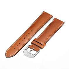 MICHELE MS18AA270216 18mm Leather Calfskin Brown Watch Strap ** For more information, visit image link.