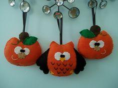 Halloween Felt Owl and Pumpkin Ornaments, Set of 3 Felt Ornaments, Halloween Decor, Decoration, Black, Orange. $21.00, via Etsy.