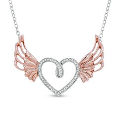 181dec708 Angel Wing Necklace 1/10 ct tw Diamond Sterling Silver/10K Gold in 2019 |  Jewelry | Angel wing necklace, Wing necklace, Jewelry