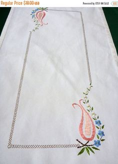 Lovely vintage cotton tablecloth with beautiful floral embroidery (handmade) In very good vintage condition, there are two supertiny dots (look at the