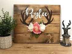 Personalized nursery sign, arrow and antlers personalized reclaimed pallet wood sign, little girl wood sign, hand painted rustic sign by Ohbabycuteshop on Etsy