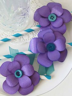 Purple Button Floral Table Decor