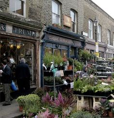 As well as Portobello, Spitalfields and Borough market, the less well-known Columbia Road Flower market is well worth a visit for the atmosphere alone. (Photo via chriswhale on Pinterest)