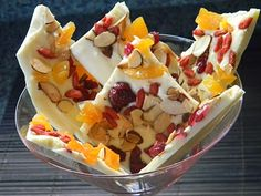 White chocolate bark with dried fruit and nuts: this stuff is so good, I had some at a holiday party and just had to pin the recipe!
