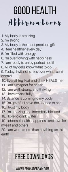 20 affirmations for good health affirmations health body mindbodyspirit mindbody mindbodysoul healthyeating balance happiness healing worthiness empowering 7 healing affirmations for health and wellness Healthy Affirmations, Morning Affirmations, Daily Affirmations, Motivational Affirmations, Positive Thoughts, Positive Vibes, Positive Quotes, Positive Mindset, Stress