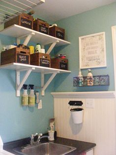Laundry Area Items: Appliances, Sink, Detergent, Softener, Bleach, Stain Removers, Stain List, Lost Sock area, Small collectors for change, buttons, pins, found items, Trash can for lint removal, Sorting baskets (bleach, lights, darks, reds, delicates, dry cleaning), Folding space, Folding boards (synthetic cutting boards), Distribution baskets (for Jon, Jen, Kids, Household), paper towels
