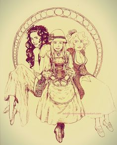 The Hatter's daughters : Lettie, Sophie and Martha.  Howl's Moving Castle by Diana Wynne Jones.  Illustration by Sabina M Stręg
