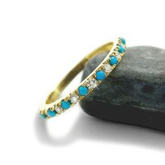 Turquoise Engagement Ring, Diamond and Turquoise Wedding Band, Turquoise Eternity Ring, Diamond Ring, December Birthstone Ring. Turquoise Wedding Rings, Boho Wedding Ring, Wedding Ring Finger, Turquoise Rings, Gold Wedding Rings, Turquoise Gemstone, Wedding Bands, Wedding Venues, Wedding Engagement