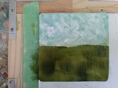 ©Bob Pennycook - Gelli landscape monoprints - I use a lot of brushes - one brush for every color, and I don't rinse or wash the brushes until I'm finished with the print. The only other tools I use are shishkabob skewers to create caligraphic marks (and to scratch back into shape an over-sized blob of color), and old credit cards for fine lines.