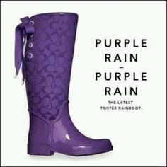 Coach Purple boots for Purple Rain Purple Love, All Things Purple, Shades Of Purple, Deep Purple, Purple Stuff, 50 Shades, Purple Rain Boots, Purple Umbrella, Coach Rain Boots