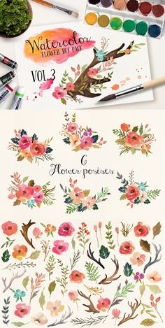 Some of the arrangements would be sort of what I am looking for in a flower tatt DIY Watercolor Pack
