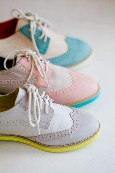 oxfords with neon soles.