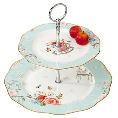 Jusalpha® Elegant Bone China 2-tier Cake Stand/ Cupcake Stand/ Pastry Serving Cake Stand in Gift Box (2T stand 02) (01) * To view further for this item, visit the image link.