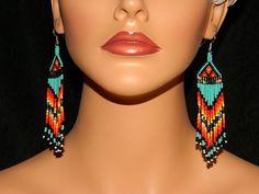"Native American Beautiful ""FireSky II"" Dangle Beaded Earrings"