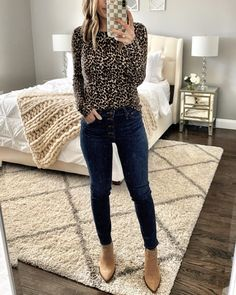 IG mrscasual Leopard blouse button up skinny jeans booties JCrew Factory Haul Fall Winter Outfits, Summer Outfits, Winter Style, Look Fashion, Autumn Fashion, Womens Fashion, Curvy Fashion, Fashion Ideas, Fashion Tips