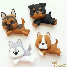 Create a Unique Bouquet of Felt Hearts – DIY Crafts – Guidecentral – Needle Felting Dog Ornaments, Felt Christmas Ornaments, Christmas Crafts, Felt Crafts Diy, Dog Crafts, Diy Y Manualidades, Felt Dogs, Felt Patterns, Felt Applique