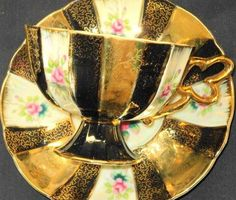Occupied Japan Black Gold Etch Pink Roses Footed Tea Cup and Saucer | eBay