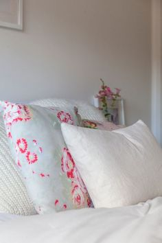 pink grey and white bedroom
