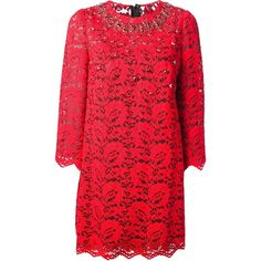 DOLCE & GABBANA Lace Shift Dress ($3,465) ❤ liked on Polyvore featuring dresses, vestidos, red, short lace dress, lace cocktail dress, short red cocktail dress, embellished cocktail dress and red lace dress