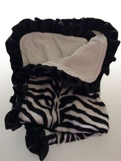 Zebra Stroller Blanket in White Minky Dot
