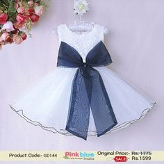 1f2e57878387 Shop Online in India Shimmery White Net Baby Girl's Dress with Big Bow