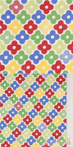 """cute green, red, blue and yellow flowers, some patterned with tiny dots and stripes, on white oxford cloth fabric, Material: 100% cotton, Pattern Repeat: ca. 23cm (9"""") #Cotton #Oxford #Flower #Leaf #Plants #JapaneseFabrics"""