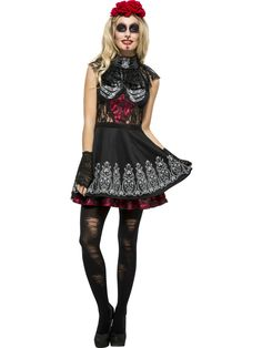 Fever Women's Day Of The Dead Costume, Dress And Rose Headband, Size: Best Halloween Costumes & Dresses USA Mexican Halloween Costume, Minion Halloween Costumes, Halloween Kostüm, Adult Costumes, Costumes For Women, Halloween Karneval, Halloween Fashion, Halloween Makeup, Ladies Day