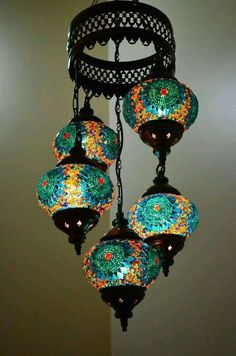 Turkish Handmade 5 Blue Globes Moroccan Mosaic Hanging Lamp Lantern Light by DeeDeeBean Turkish Lamps, Moroccan Lamp, Turkish Lanterns, Moroccan Style, Flur Design, Diy Interior, Handmade Home Decor, Bohemian Decor, Globes