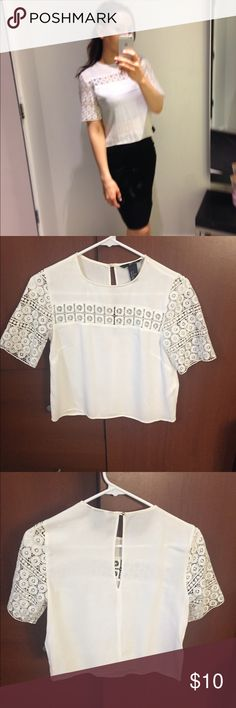 White crop top blouse White, %100 viscose lace, soft, no damage. Great with a nice pencil skirt! H&M Tops Crop Tops