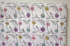 Japanese Fabric Admi Mokuhan print  Nobana 04 by MissMatatabi, $10.00