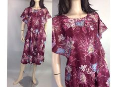 70s Wine Floral Dress / Sheer Layered Tea by sixcatsfunVINTAGE