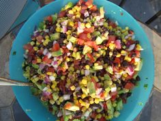 Texas Caviar Recipe  2 avocados  2 tomatoes (remove pulp inside)  1/2 red onion chopped  1 can black beans (rinsed)  1 can green giant mexicorn  juice of 1 lime  fresh cilantro chopped to taste  1/3 c white vinegar  1/3 c vegetable oil (olive oil is fine too)  1 packet good seasons italian seasoning (mix with vinegar and olive oil).  Chop it all up and mix it together.  Double for a large batch.