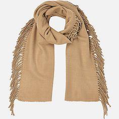 Beige tassel side scarf - river island £16