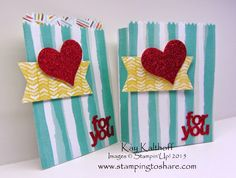 Two Versions of the Mini Treat Bag with the Mini Treat Bag Thinlit Dies, Stamping to Share, Kay Kalthoff, Stampin' Up!, How To Videos for Both Styles