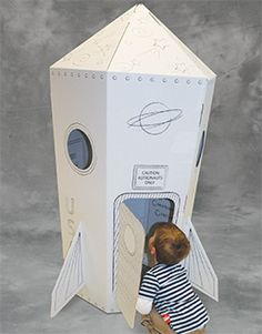 "Corrugated play house printed with 1 color line art that can be colored with crayons or markers. Assembles in minutes without tools. Size: 30"" x 64"" x 30"", Weight: 6 lbs."
