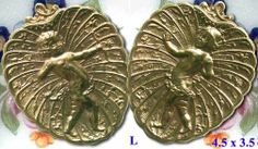 Brass buttons with cupids.