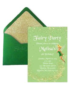 Tinkerbell, Fairy, Printable Birthday, Baby Shower, Invitation, gold, and green, PDF    I customize the invitation with the details you send.