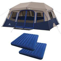 Ozark Trail 14' x 10' Instant Cabin Tent, Sleeps 10 with 2 Queen Airbed Value Bundle ($32.91 Savings)