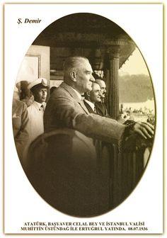 ATATÜRK, BAŞYAVER CELAL BEY VE İSTANBUL VALİSİ MUHİTTİN ÜSTÜNDAĞ İLE ERTUĞRUL YATINDA. 08.07.1936