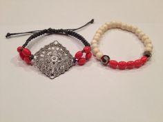 Macrame and beaded bracelet set bohemian style by AroundMyWrist on Etsy